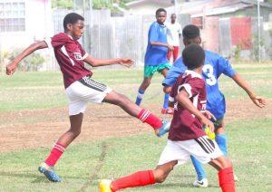 St Leonard's Boys goal scorer striker Kyle Forde-Blades pushes the ball forward. (Pictures by Morissa Lindsay).