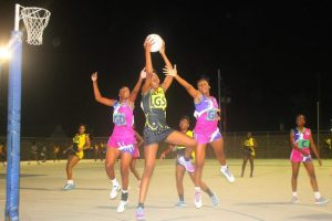 University of the West Indies Blackbirds B goal-shooter Rhea Bryant had a tough time against St Barnabas' defence. (Pictures by Morissa Lindsay).