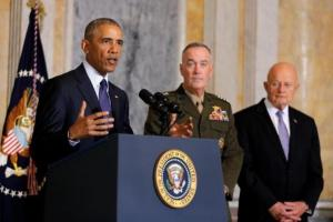 President Barack Obama delivers a statement accompanied by Director of National Intelligence James Clapper (right) and Chairman of the Joint Chiefs of Staff General Joseph Dunford.
