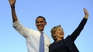 President Barack Obama with Democratic presidential nominee Hillary Clinton.