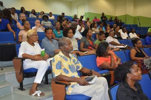 Some members of the audience in the Henry Fraser Theatre taking in Dr Samuels' message.
