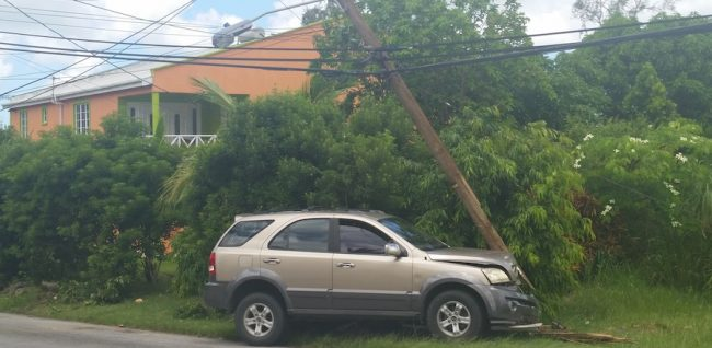 The vehicle that crashed into an electric pole in St Thomas this morning.