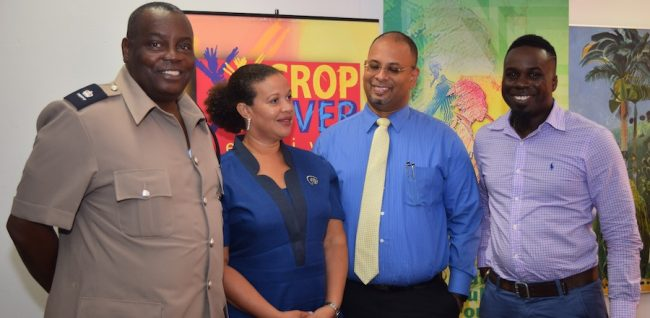 From left: Acting Superintendent of Police Bruce Rowe, Communications Coordinator BL&P Jennifer Blackman,  Roberts Manufacturing CEO Jason Sambrano and Producer David ZigE Walcott.