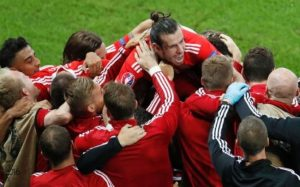 Gareth Bale and his team-mates celebrate a great day for Welsh football.