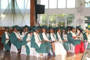 The 2016 graduating class of the Ursuline Convent waiting to receive their certificates.