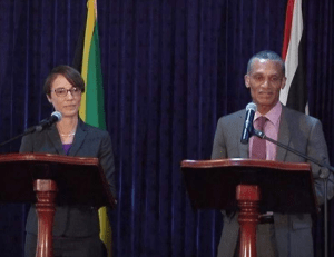 Left, Kamina Johnson-Smith, Minister of Foreign Affairs and Foreign Trade, Jamaica and, Trinidad and Tobago's Minister of Foreign and CARICOM Affairs Dennis Moses, speaking at a joint press conference on Monday.