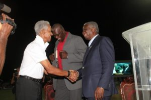 Prime Minister Freundel Stuart (right) greeting  Sir Garfield Sobers (left) at last night's ceremony.