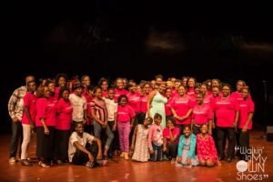"""Wimoss group on stage at """"Walking in my shoes"""" production."""
