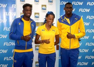 (From left) Darian King, Sada Williams and Alex Sobers getting a feel of the Barbados uniform sponsored by Puma. (Pictures by Morissa Lindsay)