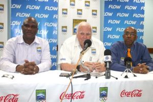 (From left) General manager of the Barbados Olympic Association Glyne Clarke, BOA president Steve Stoute and Dr Adrian Lorde, Barbados' chef de mission.