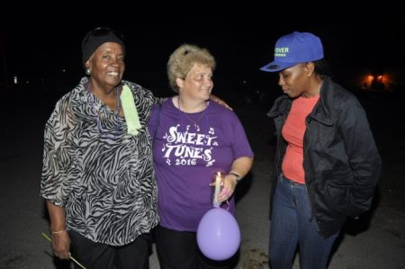 From left, veteran band leader Gwyneth Squires, co-bandleader of Jump Promotions Laura Galt and calysonian Terencia TC Coward came out to show support for their friend Renee Ratcliffe.