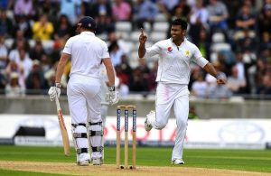 Sohail Khan celebrates the wicket of Jonny Bairstow.