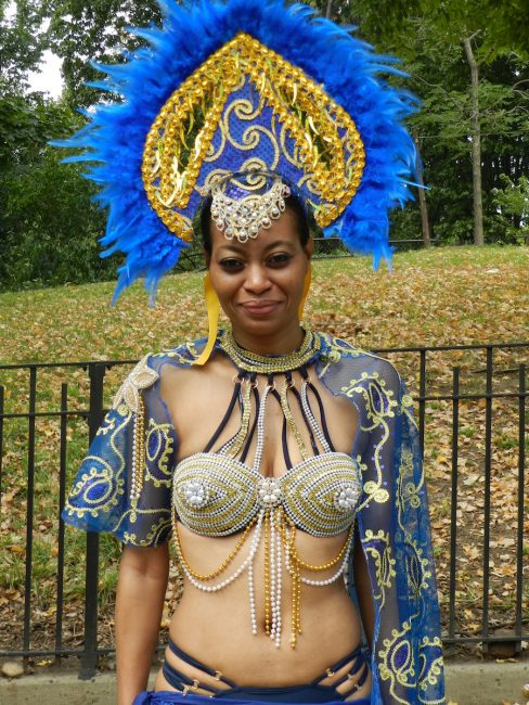 This Trini reveller with Bajan roots was resplendent in Barbadian national colours.