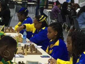 Barbados take on Jamaica with Lydia Nurse, Segan Sandiford, Donna Murray and Katrina Blackman.