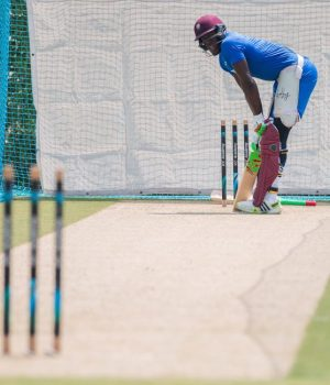 Captain Carlos Brathwaite getting a knock in the nets ahead of tomorrow's T20 International.