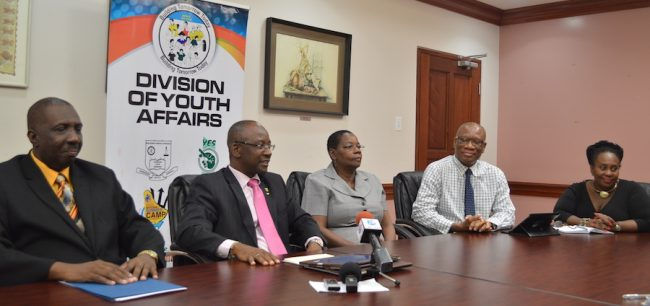 From left, Director of the BYS Halley Haynes, Minister of Culture, Sports  and Youth Stephen Lashley, Permanent Secretary in Ministry of Youth Ruth Blackman and Manager of the Youth Entrepreneurship  Scheme Selma Green.
