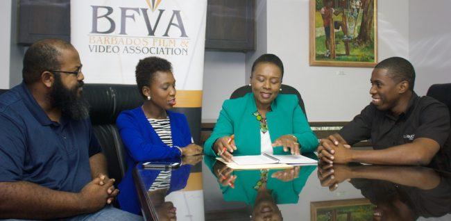 Board members of the Barbados Film and Video Association. From left, Terrance Vaughn floor member, Ramiona Gradison Secretary, Lynette Eastmond President and Kishmar Shepherd Public Relations Officer.