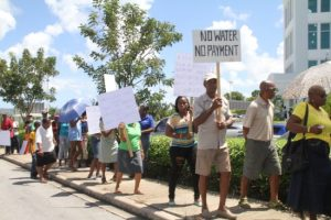 Today's protest lasted for two hours with residents calling on Government minister Dr David Estwick to resign.