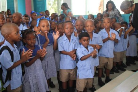 Some of the pupils at the Deacons Primary School.