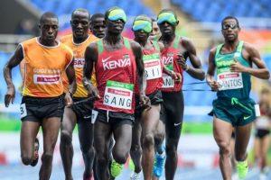 Kenya's Samwel Mushai Kiman won gold in the 1 500m while Odair Santos (right) was second.