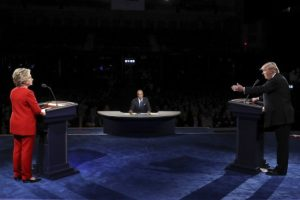 Republican presidential nominee Donald Trump points toward Democratic presidential nominee Secretary Hillary Clinton during the first presidential debate.