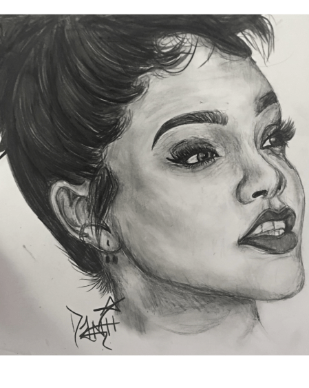 Danielle says her portrait of Rihanna has been the most challenging thus far.