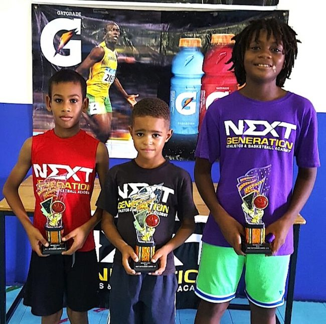 (From left) Most outstanding campers Zishan Motara, Zane Gaskin and Chikosi Boardi.