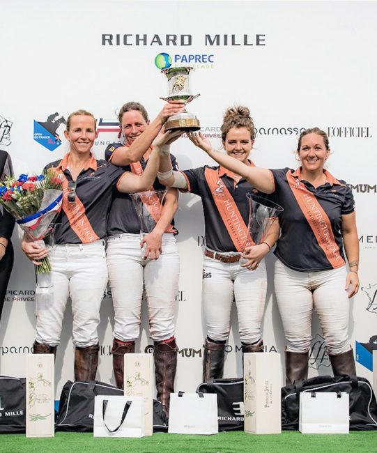 Apes Hill's French Open Polo  winning team (l to r) Lucy Taylor, Tamara Fox, Emma Boers, Camilla Williams.
