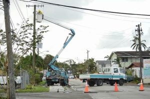 Bahamas Power and Light crews at work this week.