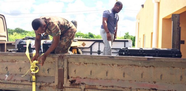 CDEMA's battle boxes being prepared for deployment to Haiti.