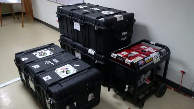 CDEMA's battle boxes with equipment and field supplies for the CARICOM Disaster Relief Unit.