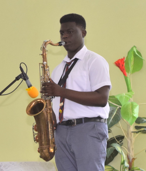 Zukeli Inniss of the Alleyne School did an excellent rendition of Whitney Houston's Greatest Love of All on sax.