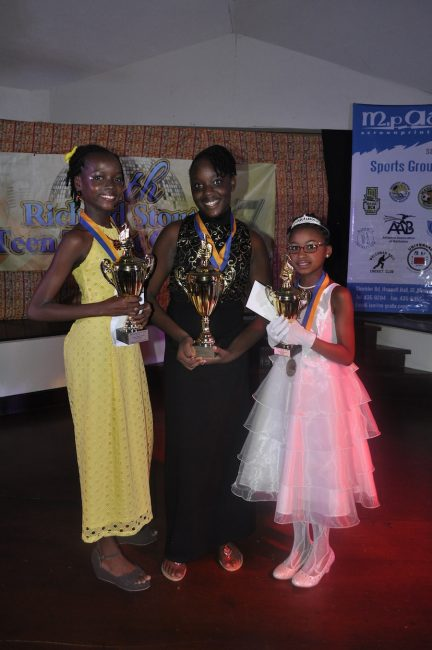 Left to right 2nd place - Neesha Welch, winner Yahandje Daniel and 3rd place Tahirah Gibbons