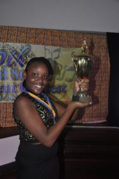 Yahandje Daniel with her first place trophy.