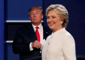 Donald Trump and Hillary Clinton finish their third and final 2016 presidential campaign debate at UNLV in Las Vegas.