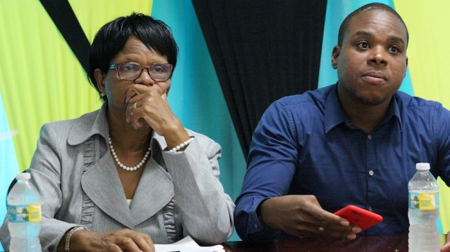 From left, NUPW General Secretary Roslyn Smith and President Akanni McDowall are not in favour of outsourcing garbage collection.