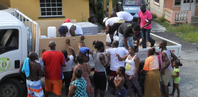 The Weekend Water Warriors delivered 150 cases of bottled water to St Joseph, St Andrew and St Thomas.