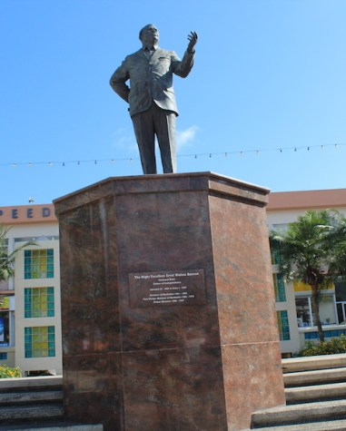 The monument of Errol Barrow adorns Independence Square.