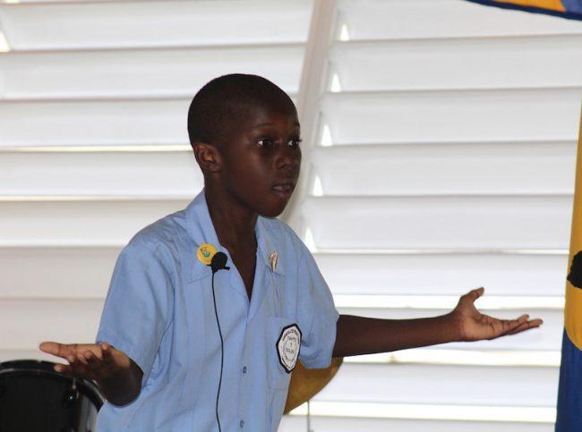 Headboy Brandon Byer-Maloney delivering a dramatic piece entitled That Little Boy.
