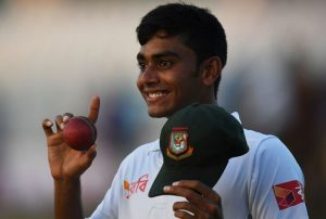 Mehedi Hasan celebrates his five-wicket haul on  debut.