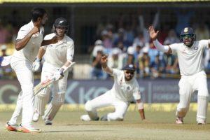 Ravichandran Ashwin (left) dismisses Kiwis' captain Kane Williamson (second left) for the fourth time in as many innings.