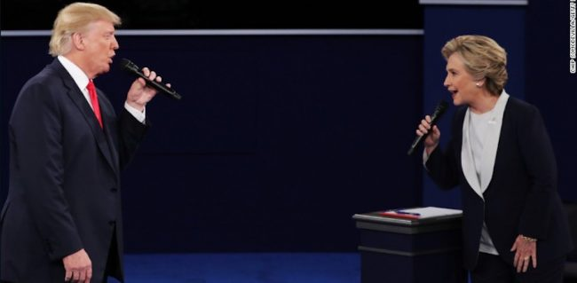 Republican nominee Donald Trump faces off with Democratic nominee Hillary Clinton during the second presidential debate.
