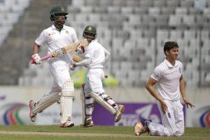 Tamim Iqbal (left) and Mominul Haque (centre) led Bangladesh's batting effort. Debutant Zafar Ansari is at right.