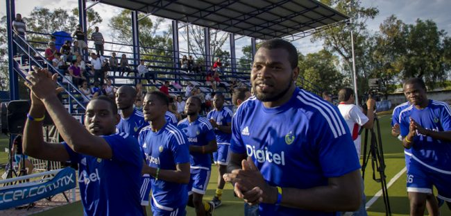 The Barbados men take a lap and thank the fans for their support throughout the tournament after succumbing to the US in the final .