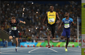 Usain Bolt (centre)