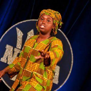 Azania Akofa Elcock delivering her speech Calypso Upset.
