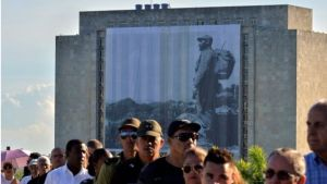 A photograph of Fidel Castro carrying a rucksack was on display in Revolution Square.