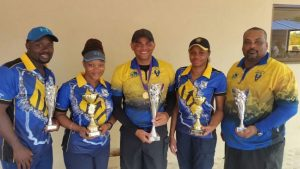 Barbadian shooters (from left) Gerard Gill, Donna Barrow, Adrian Mashall, Allison Burke and Ryan Best.