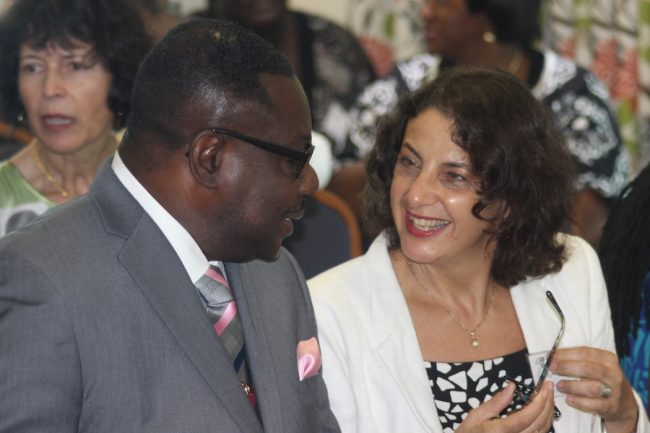 Minister of Social Care Steve Blackett in conversation with EU Ambassador Daniela Tramacere during today's workshop.