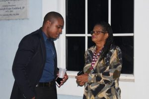NUPW President Akanni McDowall in discussion with General Secretary Roslyn Smith following this afternoon's meeting.
